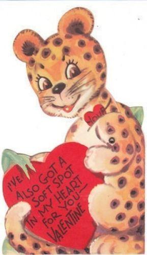 Vintage Valentine Card Leopard Mechanical Die Cut for Children Animal   eBay
