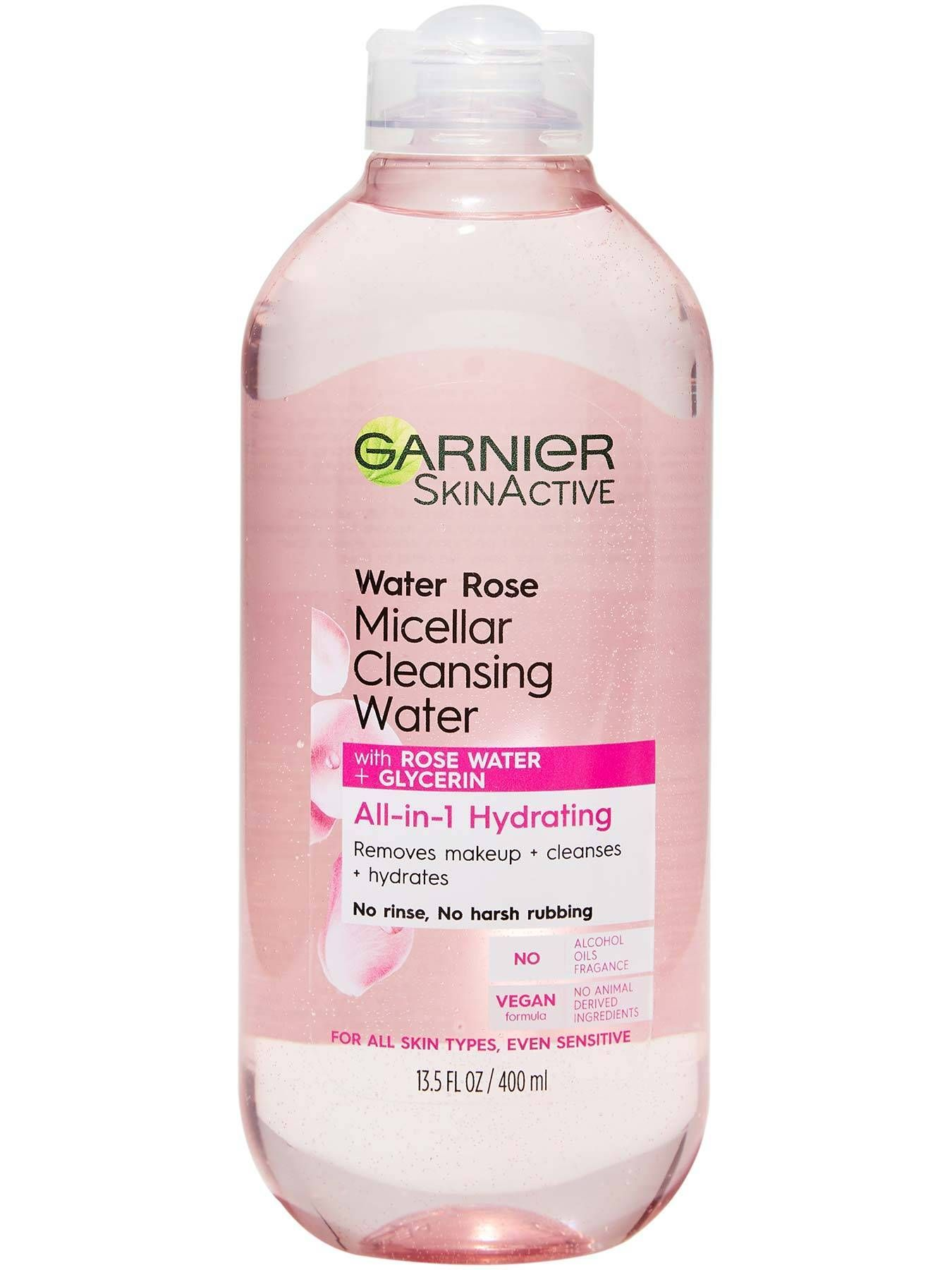 Water Rose Micellar Cleansing Water Cleanser Makeup Remover All In 1 By Garnier Skinactive With M In 2020 Micellar Cleansing Water Garnier Skin Active Water Cleanse