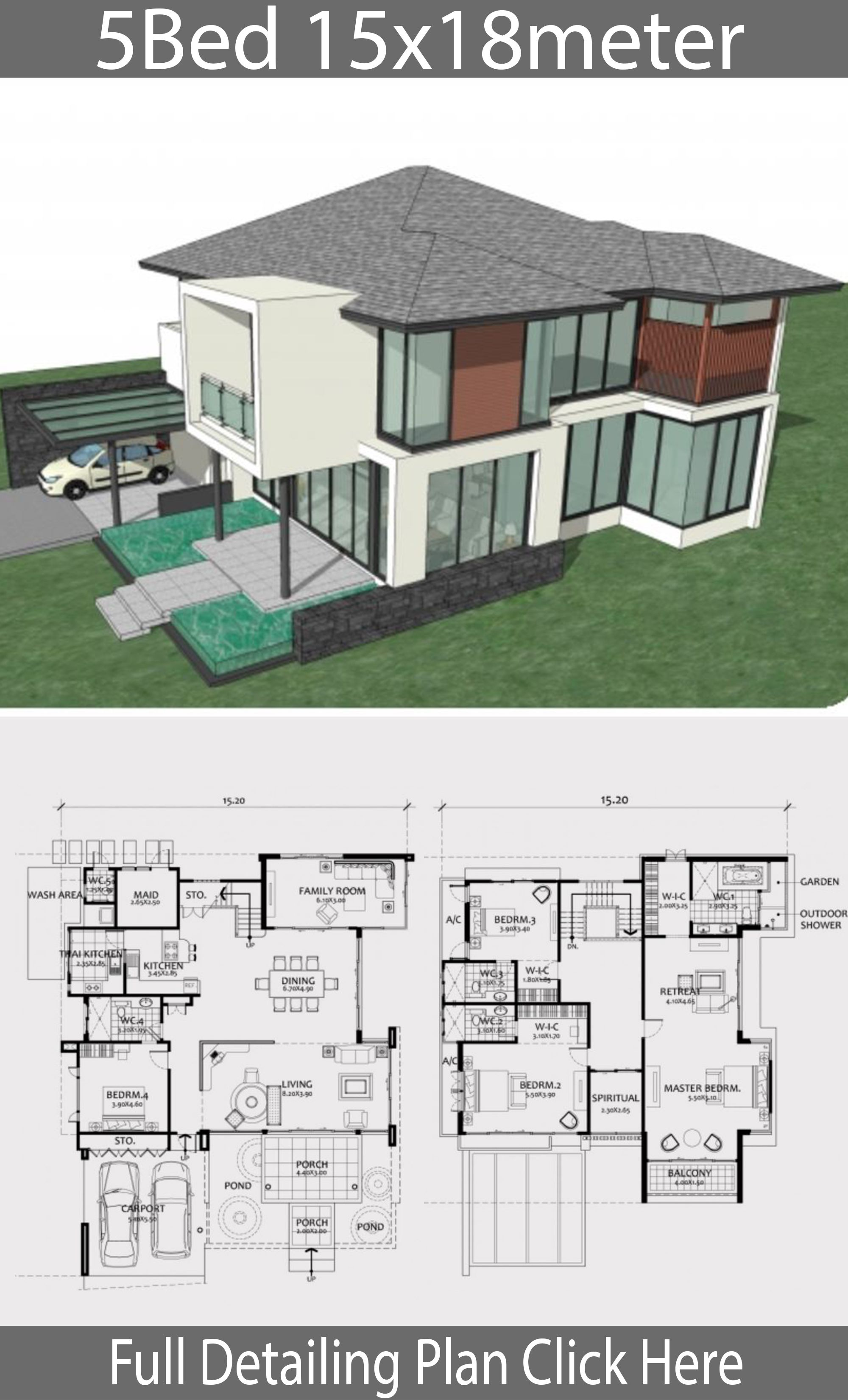 Home Design Plan 15x18m With 5 Bedroom House Plan Map Home Design Plan House Design House Projects Architecture
