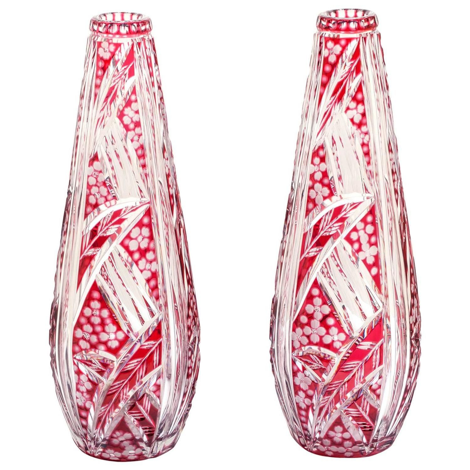 Stunning Pair of Art Deco Saint Louis Vases