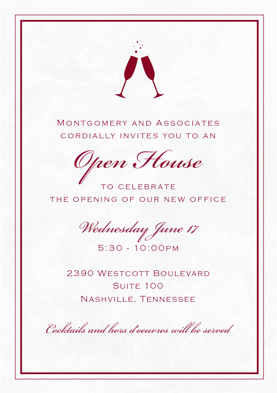 Marble Toast Invitations In Red Invitations Grand Opening