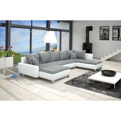 canapé angle droit design moderne simili cuir blanc et tissu gris