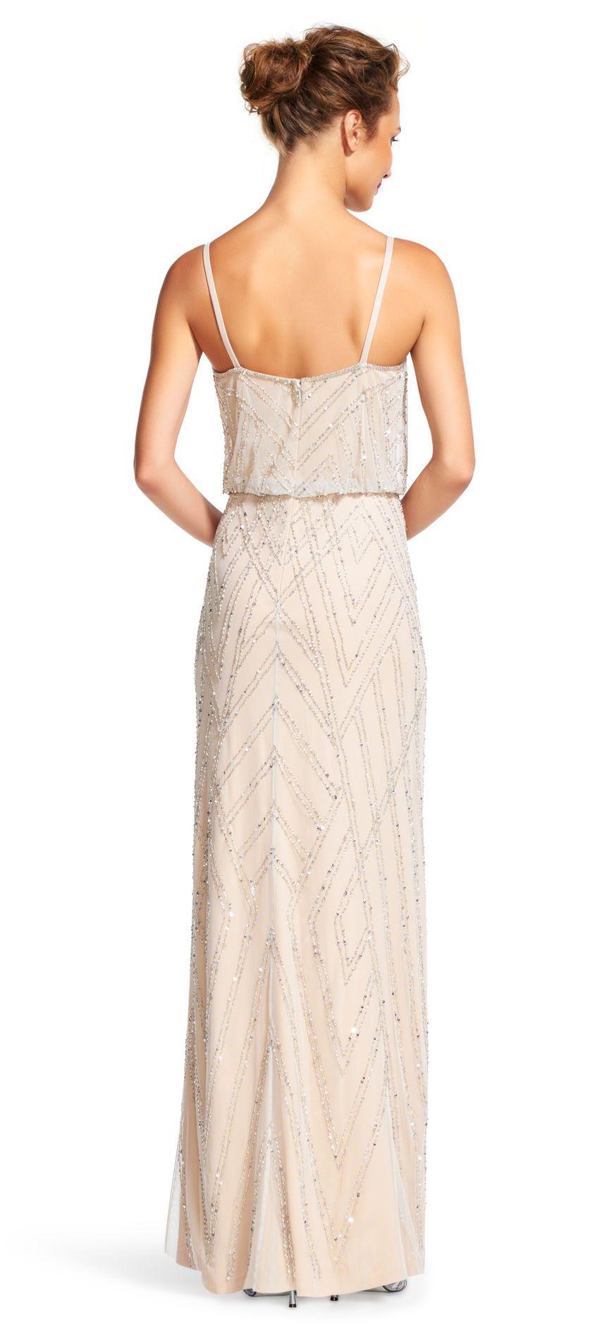 Diamond Beaded Blouson Dress Gold bridesmaid dresses