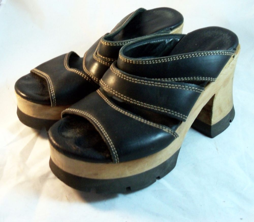 London Underground Shoes ~ Black Wooden Platform Sandals Sz 7  M #LondonUnderground #PlatformsWedges