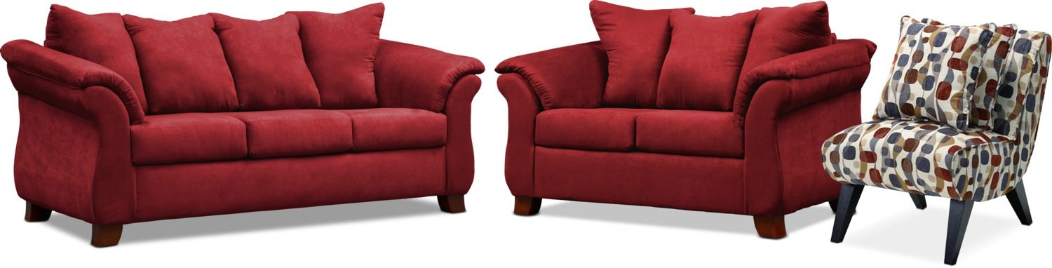 Pleasing Adrian Sofa Loveseat And Accent Chair Set Red In 2019 Short Links Chair Design For Home Short Linksinfo