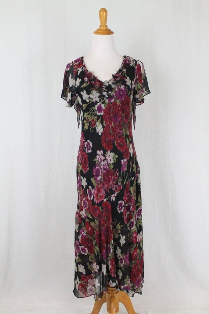 1920s silk chiffon dress  floral chiffon flapper dress  bias cut sleeveless dress  Gatsby Roaring Twenties dress   1920s dress