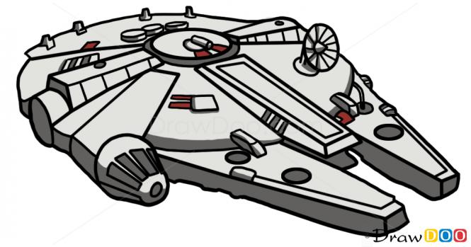 How To Draw Millennium Falcon Star Wars Spaceships Star Wars Drawings Star Wars Cartoon Star Wars Art
