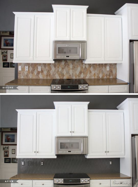 Paint Backsplash Interior Unique How I Transformed My Kitchen With Paint  Painted Tiles Kitchens . Design Ideas