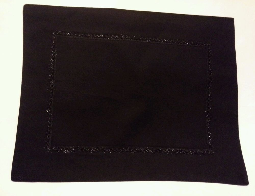 Placemats New Set 4 Black Metallic Trim 100 Cotton Wedding Birthday Party Home Black Metallic Halloween Placemats Cotton Wedding