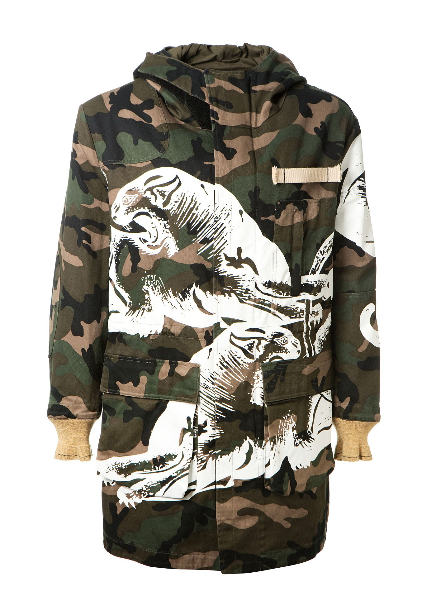 15e74eb107571 VALENTINO Valentino Camouflage Hooded Parka With White Panther Print. # valentino #cloth #
