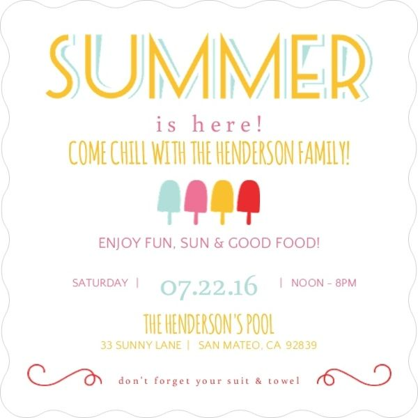 Festive Popsicles Printable Summer Party Invitation Summer Party Invite Template Neighborhood Party Invitations Summer Block Party