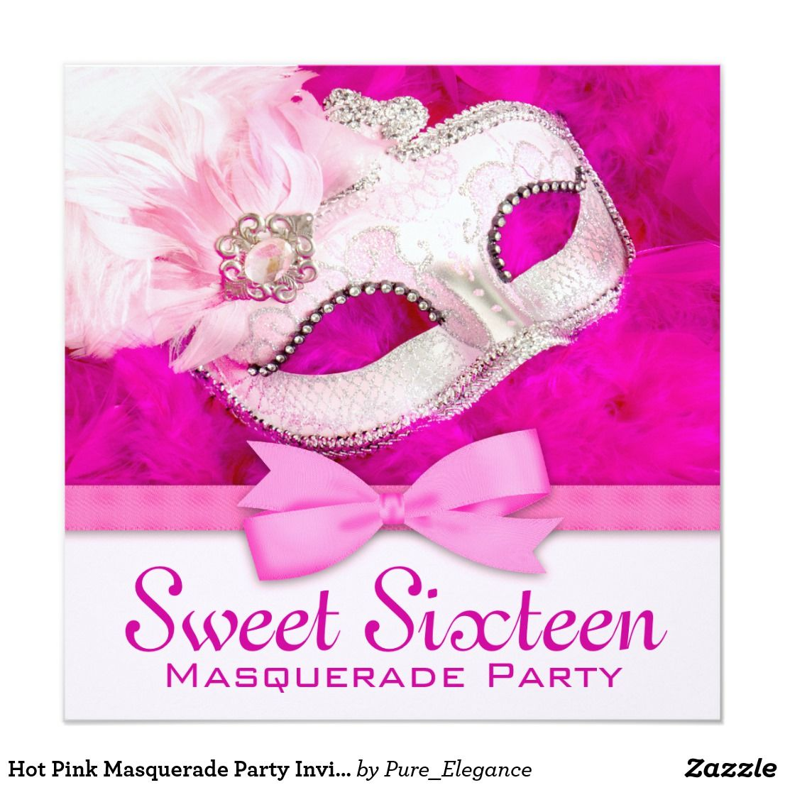Hot Pink Masquerade Party Invitations Elegant pink feather mask ...