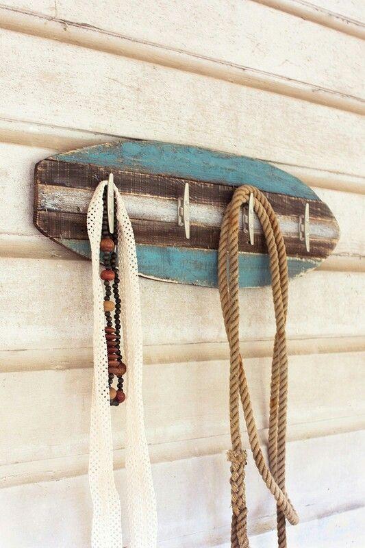 Surfboard Towel Coat Rack Wood Signs Rustic Wall