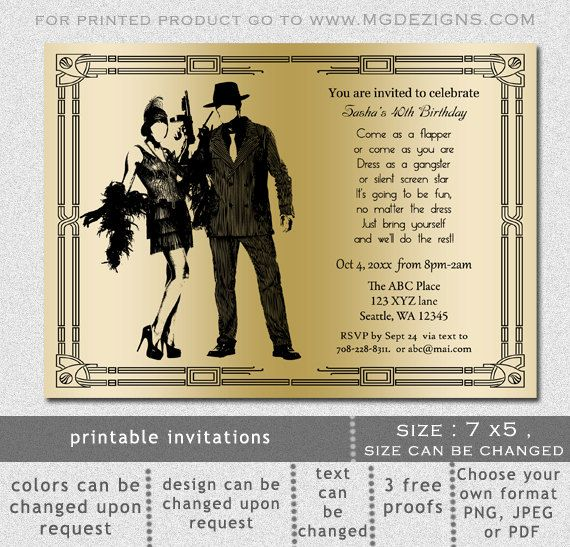 Printable Gold Black Art Deco Retro Roaring 20s Birthday Party
