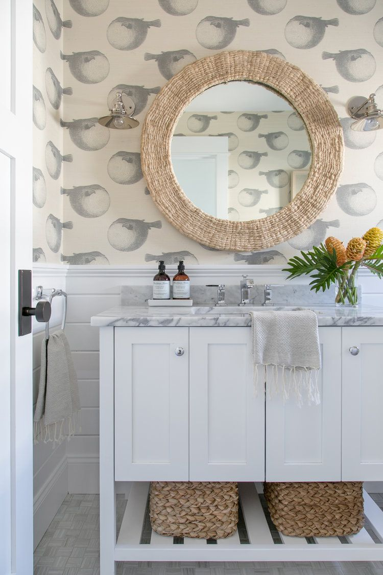 Powder bath with the cutest beach vibes and wallpapered walls Chango ...