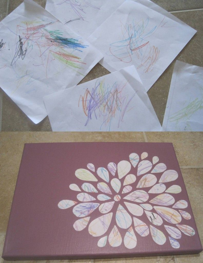 Turn your toddler's scribbles into art!  Can be done to match nursery decor...love this!