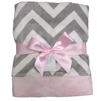 Pink and Gray Chevron Baby Blanket