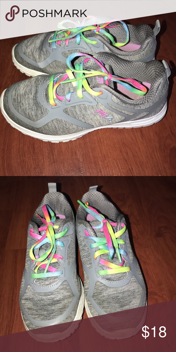 great deals on fashion hot-seeling original fashionable patterns Fila athletic shoes Grey with rainbow shoe laces. Only used ...