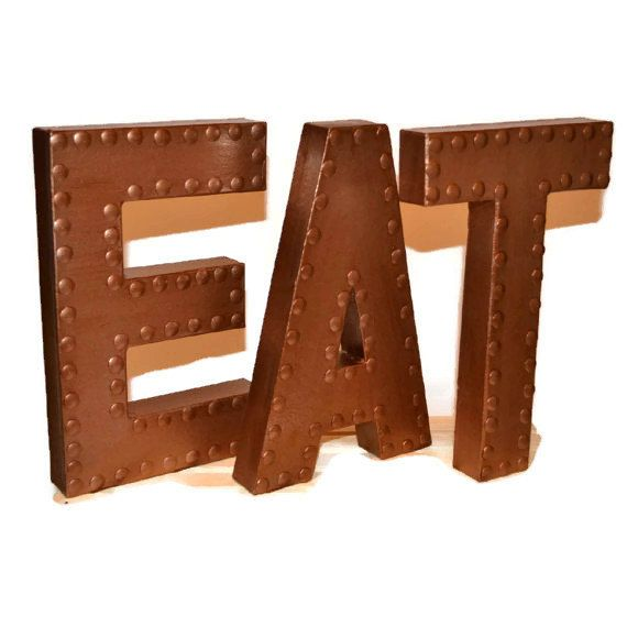 Kitchen Wall Decor, Eat Sign, Eat Letters, Kitchen Wall Letters, Copper  Kitchen