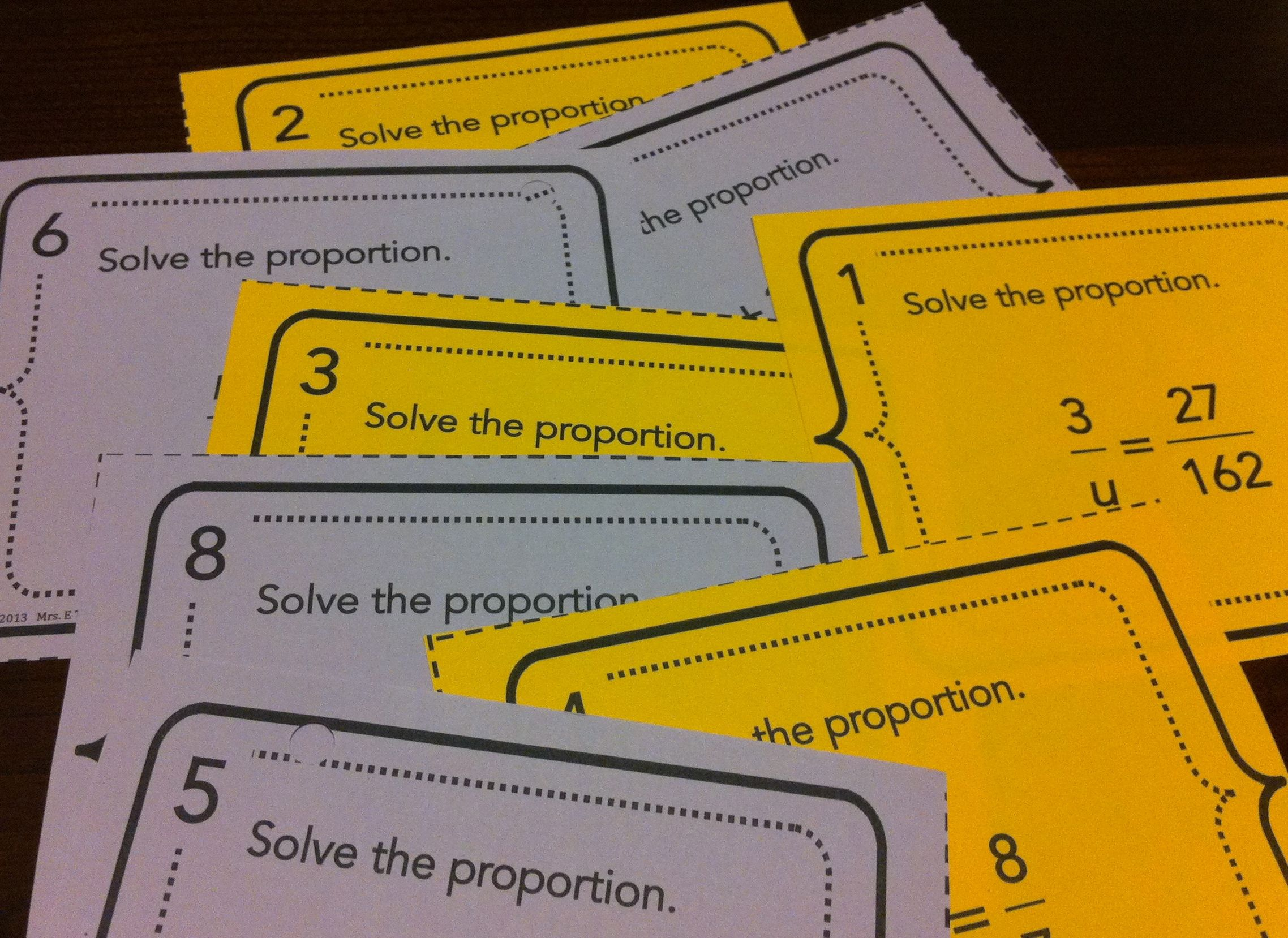 Proportions Task Cards Unit 2