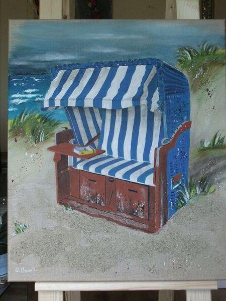 Strandkorb gemalt  Strandkorb in den Dünen,Acryl von Palettes-Bilder-Shop auf DaWanda ...