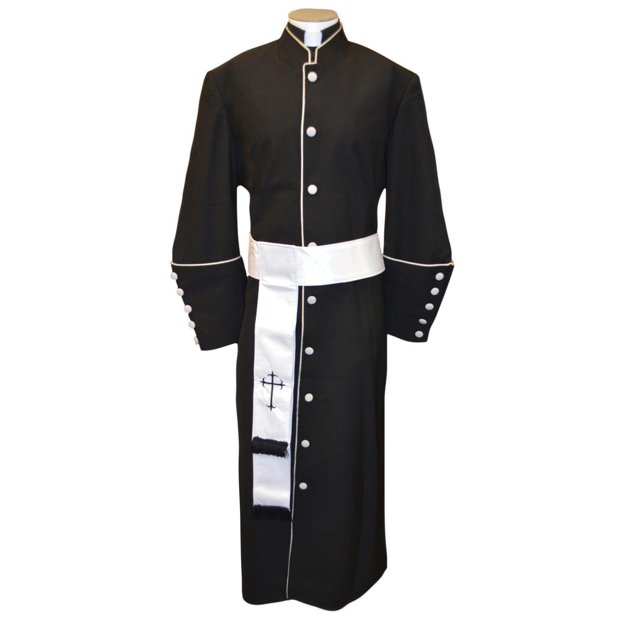 e07c7f3070 178 M. Men s Pastor Clergy Robe - Black White Cincture Set