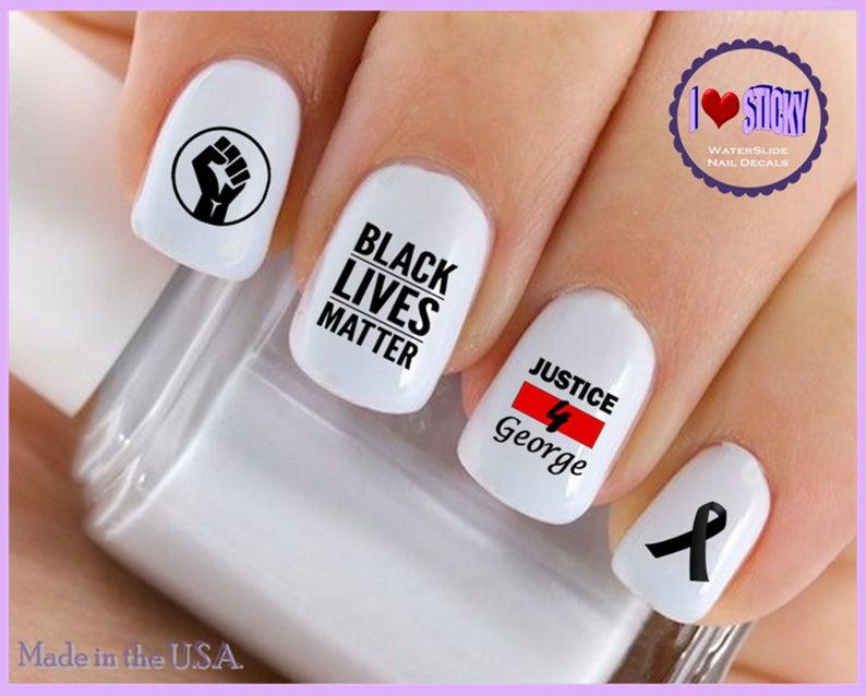 Symbol Nail Decals Black Lives Matter 2 Ribbon Fist Protest Etsy Nail Decals Fire Nails Nails