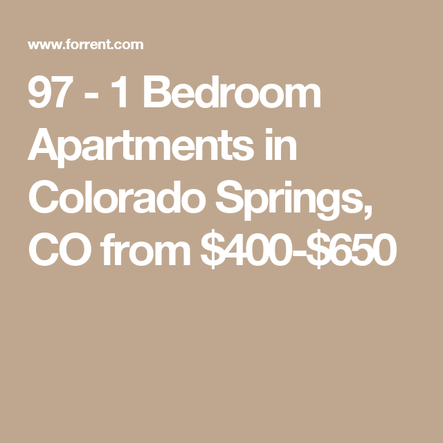 1 Bedroom Apartments In Colorado Springs, CO From