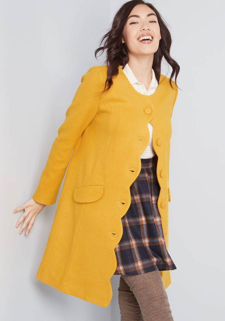Swell Times Ahead Scalloped Coat In 16 Uk Long Walker By Fever London From Modcloth