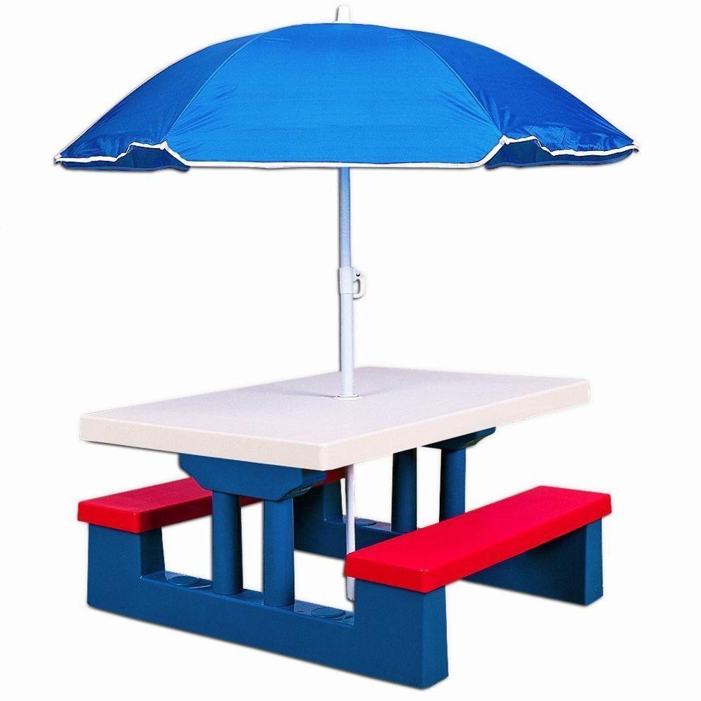 Childrens Outdoor Furniture Table 2 Bench Set + Parasol Kids Garden PLASTIC  TOY