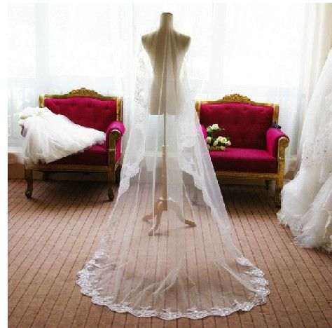 Hot Sale High Quality Wedding Veil One-layer 3 meters White/Ivory Long Lace Edge Bridal Veil Free Shipping
