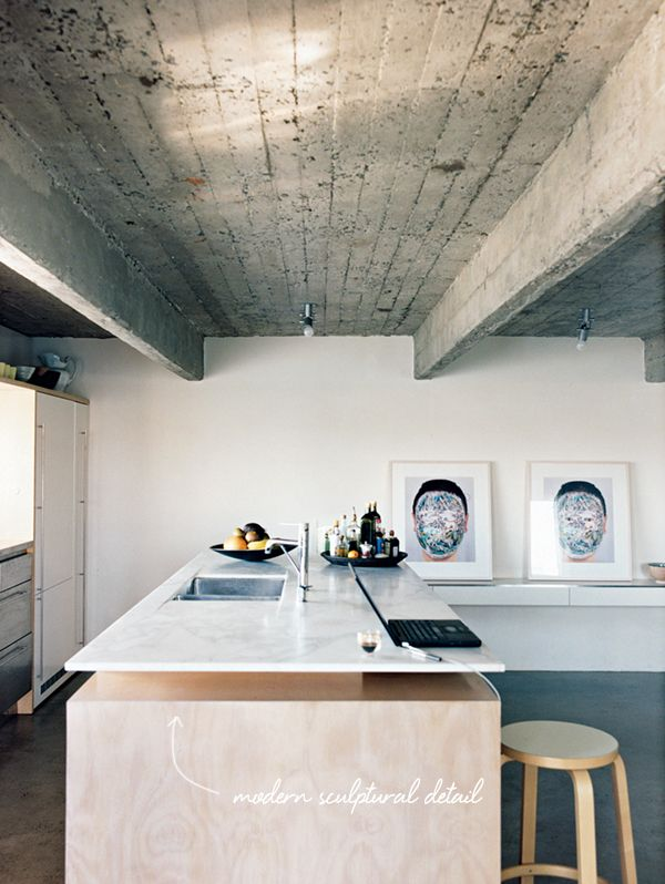 Modern Floating Marble And Wood Kitchen Island // Dwell Magazine