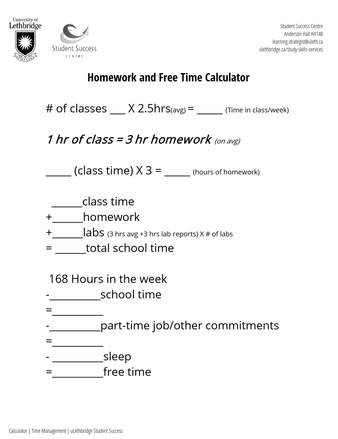 Homework And Free Time Calculator From The Student Success
