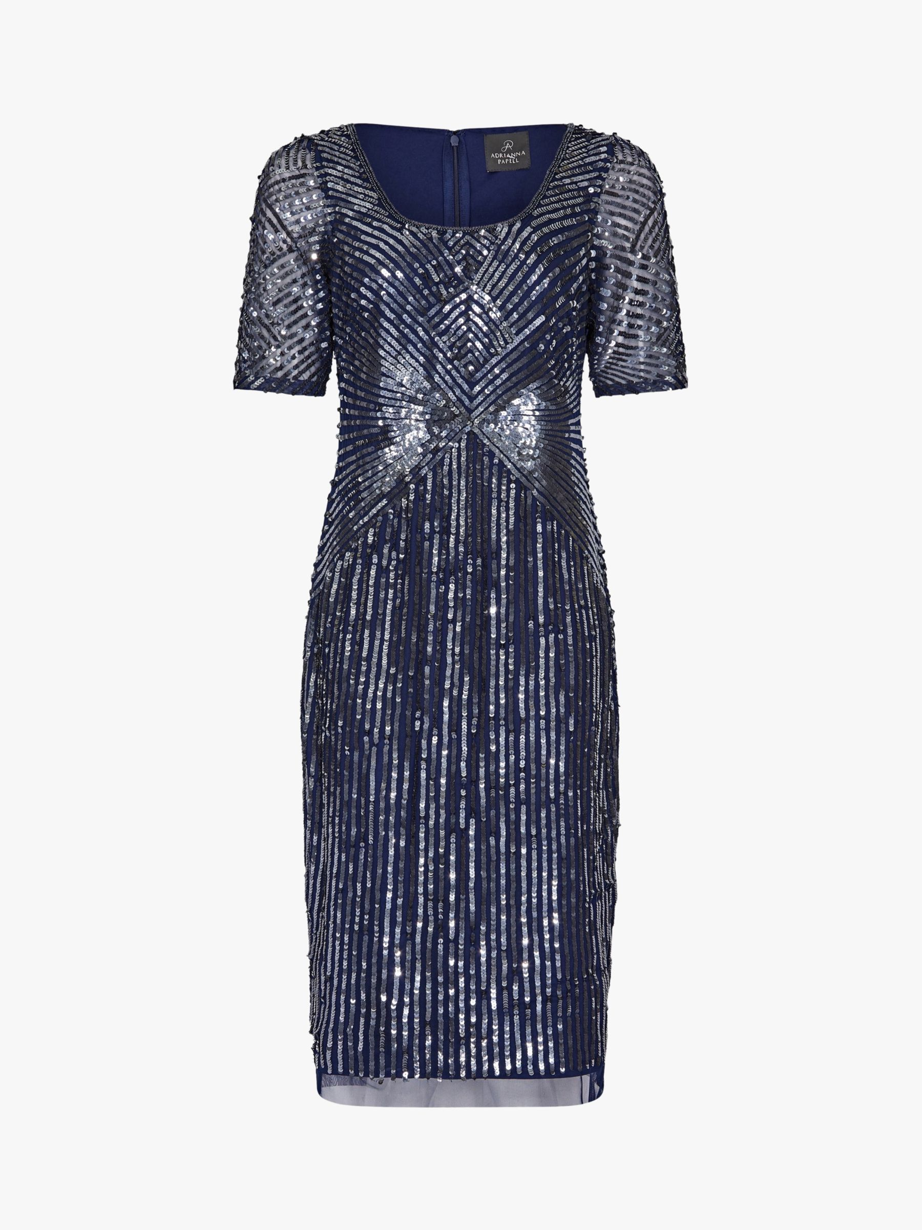 Adrianna Papell Beaded Knee Length Dress Navy Short Sleeve Dresses Dress Shapes Fashion