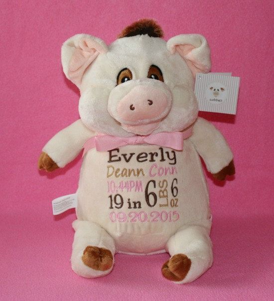 Personalized pig birth announcement plushie toy keepsake stuffed personalized baby gift new born baby birth announcement keepsake childrens toy by reneesembroidery on etsy negle Choice Image