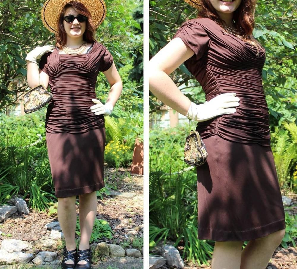 Vintage s rockabilly bombshell pinup rayon crepe wiggle dress