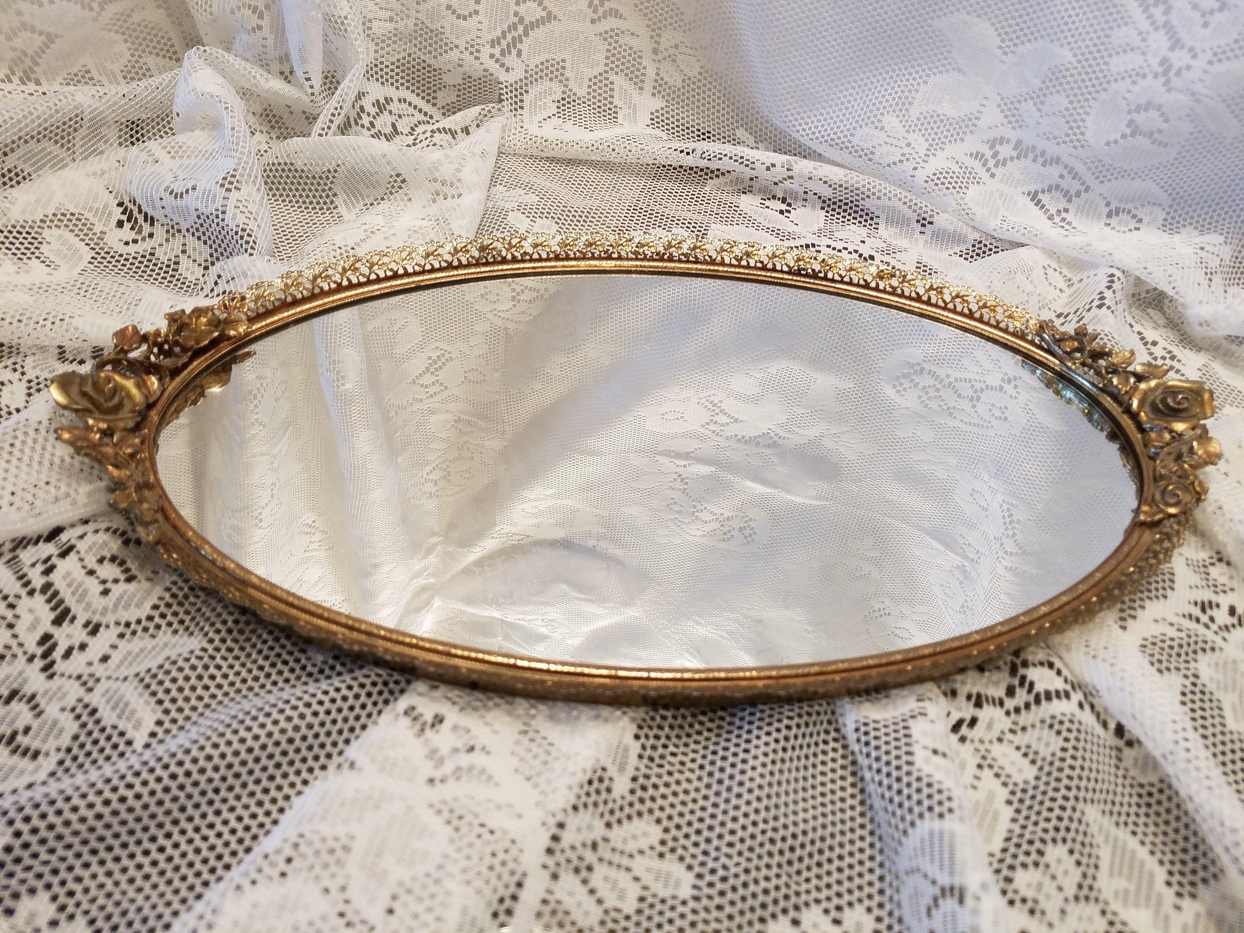 Matson Vintage Vanity Dresser Mirror Tray Mid Century Ormolu Tray Rose Handles Jewelry Tray Boudoir Tray Perfume Display Jewelry Tray Dresser With Mirror
