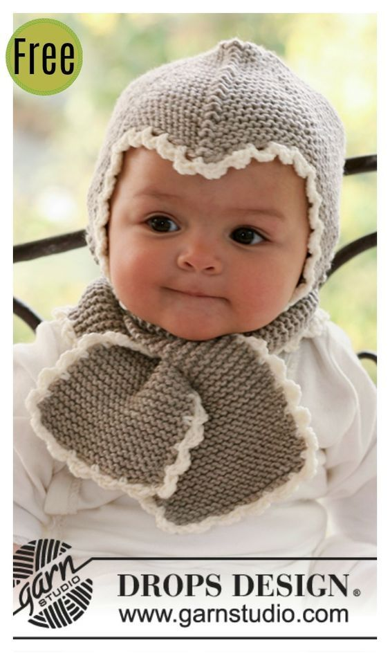 Baby Hat And Scarf All In One Free Knitting Pattern Knitting Baby