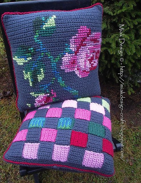Crochet cushion covers with Rose embroidery and Weaved stripes ...