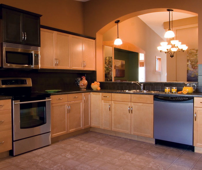 Clean, simple design is the key to this L shaped kitchen ...
