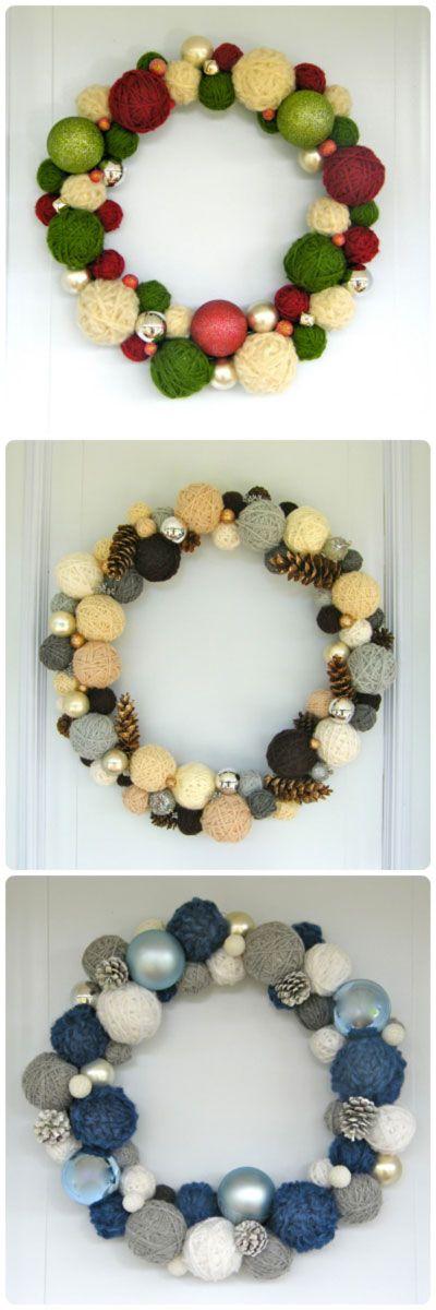 Yarn Ball Wreath Trio