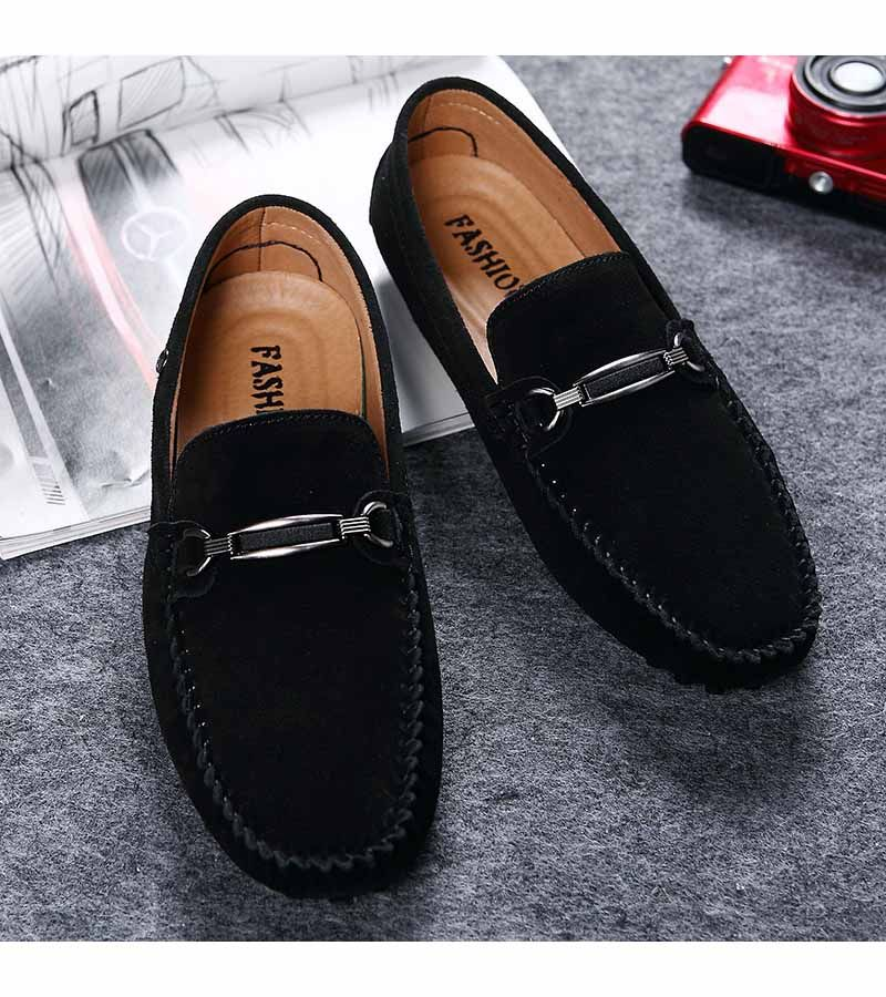 Men's Moccasin Red Slip On Silver Buckle Leather Loafers Causal Mens Shoes