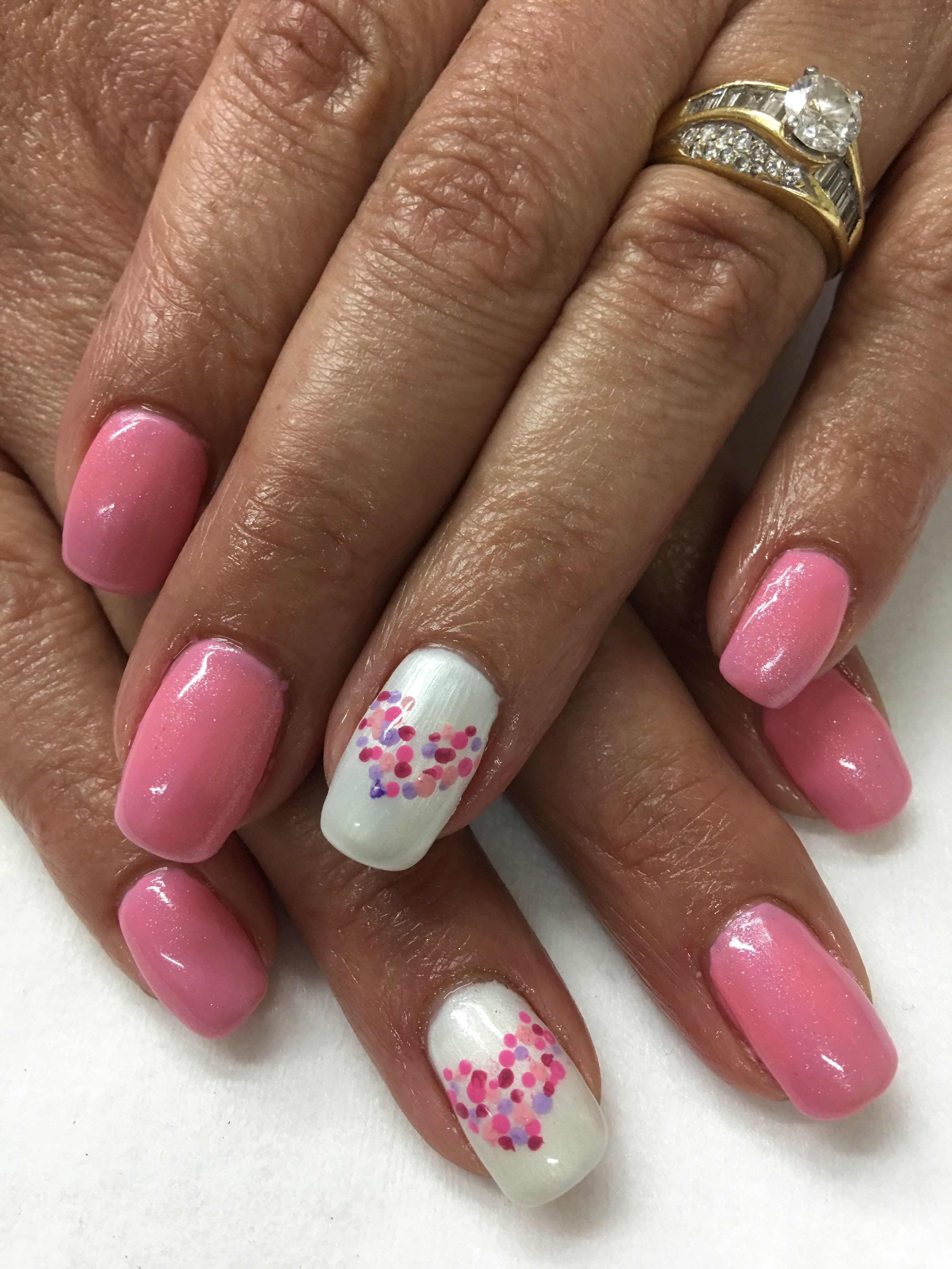 Pink Valentines Hand Painted Dotted Heart Gel Nails Nails Nails Today Valentines Nails