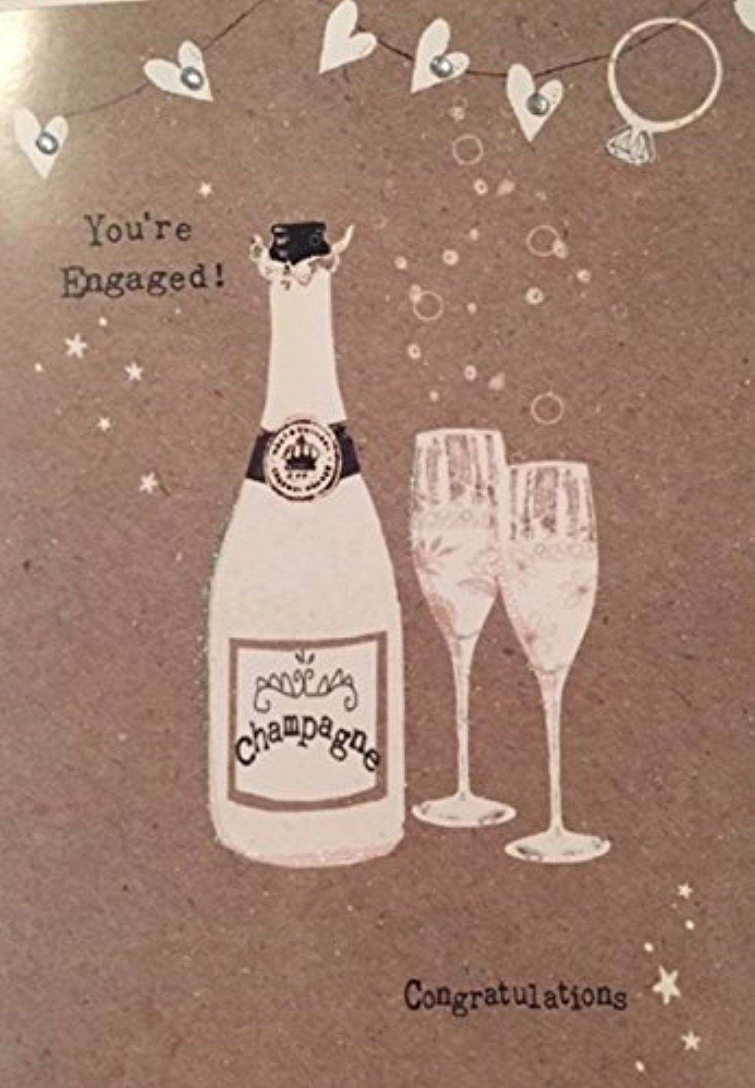 Gem Embellished Youre Engaged Congratulations Greeting Card 1