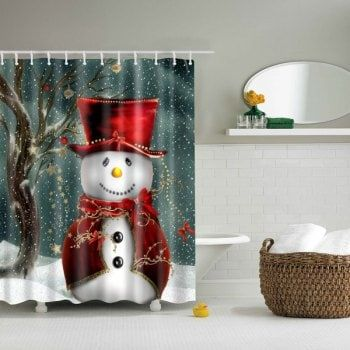 Christmas Snowman Bathroom Waterproof Shower Curtain Snowman