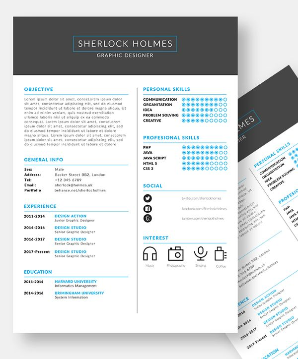 Free PSD Clean Resume Template #freebie #resumetemplate - creative free resume templates