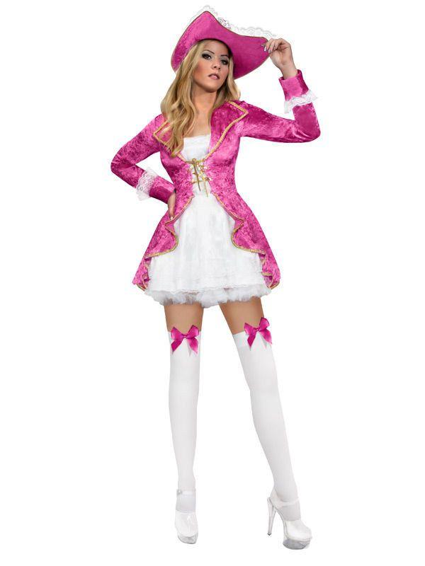 Süsse Piratin Damenkostüm pink-weiss, aus unserer Kategorie ...