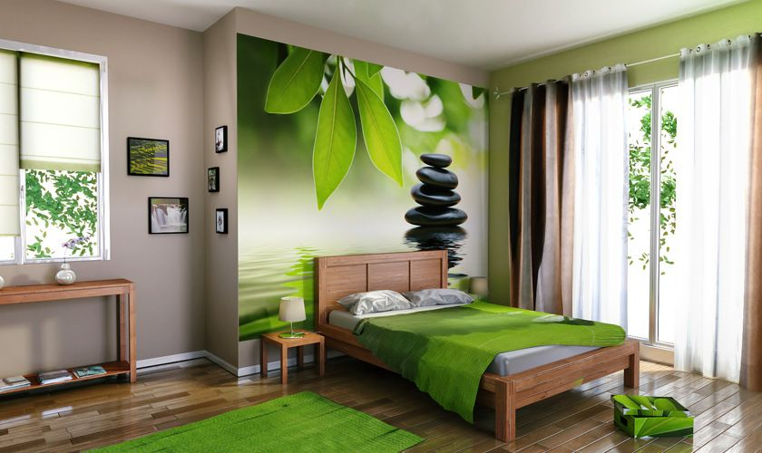objet d co violet zen 4 murs papier peint peinture rideaux d co d co int rieur vert. Black Bedroom Furniture Sets. Home Design Ideas