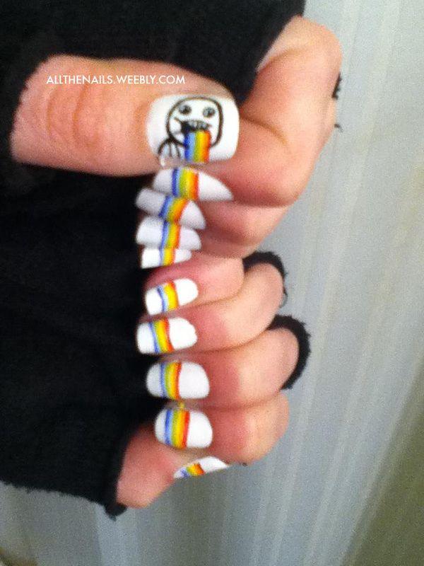 9c6a77781d6295b4e1131b468ead75d2 rainbow vomit meme nail art by allthenails weebly com cute nail,Meme Nail Art