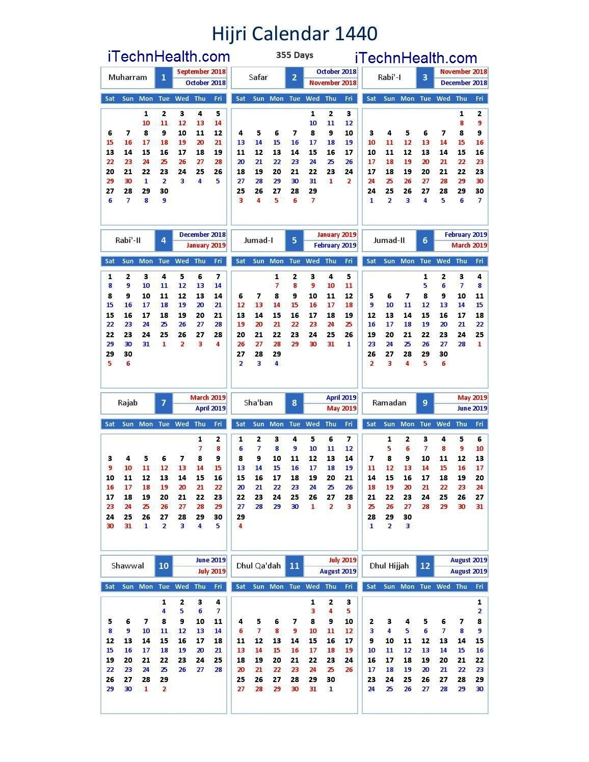 Download Calendar 2019 And Islamic Calendar 2019 1440 Islamic